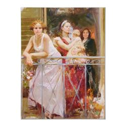 """Pino (1939-2010) - """"Waiting on the Balcony"""" Artist Embellished Limited Edition on Canvas (48"""" x 36"""")"""