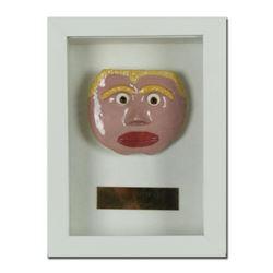 "George Marlowe ""Billy Buttface"" Framed Original Hand Made Ceramic Mask Sculpture; COA"