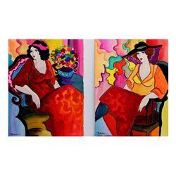 "Patricia Govezensky- Set of Two Original Watercolors ""Dreams and Reality"""