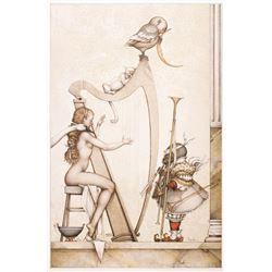"Michael Parkes ""Moon Harp"" Original Hand Pulled Stone Lithographs"