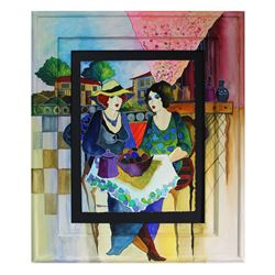 """Patricia Govezensky- Original Watercolor with Hand Painted Frame """"Laura and Margaret"""""""
