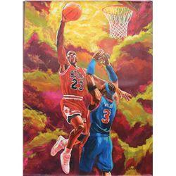 "Turchinskiy Dmitriy- Original Oil on Canvas ""Jordan vs. Wallace"""