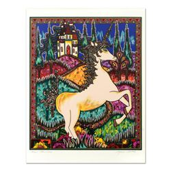 "Mara Abboud, ""Stained Glass Unicorn"" Limited Edition Lithograph, Numbered and Hand Signed with Lette"