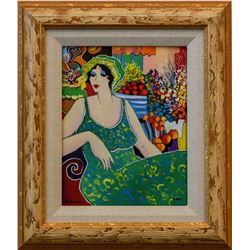 "Patricia Govezensky- Original Giclee on Canvas ""Lady in Green"""