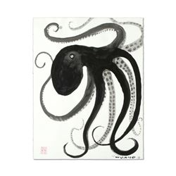 """Wyland, """"Octopus"""" Original Sumi Ink Painting, Hand Signed with Certificate of Authenticity."""