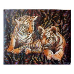 "Vera V. Goncharenko- Original Oil on Canvas ""Wild Cats"""