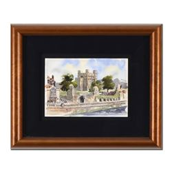 """Martin Goode (1932-2002), """"Rochester Castle"""" Framed Original Watercolor Painting, Hand Signed with C"""