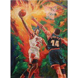 "Turchinskiy Dmitriy- Original Oil on Canvas ""Jordan vs. Perkins"""