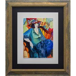 "Patricia Govezensky- Original Watercolor ""Verve - Nu bleu XI"""