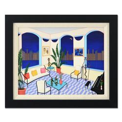 """Fanch Ledan - """"Interior with Primitive Art"""" Framed Limited Edition Serigraph on Canvas, Numbered Inv"""