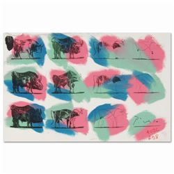 """Ringo, """"Eleven Bulls (Picasso)"""" One-of-a-Kind Hand-Pulled Silkscreen and Mixed Media Painting on Can"""