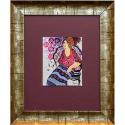 """Patricia Govezensky- Original Mixed Media """"Pink Floral Dress"""""""