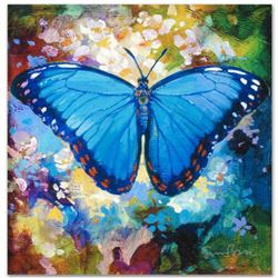 """""""Blue Morpho"""" Limited Edition Giclee on Canvas by Simon Bull, Numbered and Signed with Certificate o"""