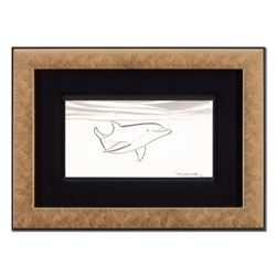 """Wyland - """"Dolphin"""" Framed Original Sketch, Hand Signed with Certificate of Authenticity."""