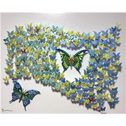 "Patricia Govezensky- Original 3D Metal Art on Wood ""Flag of Peace"""