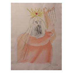 "Salvador Dali- Watercolor on Etching ""King David """