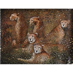 "Vera V. Goncharenko- Original Oil on Canvas ""Leopards"""