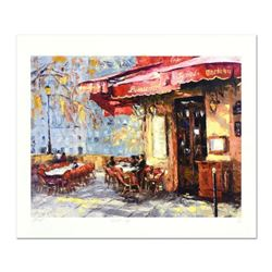 """Elena Bond, """"Quiet Cafe"""" Hand Embellished Limited Edition Mixed Media, Numbered and Hand Signed with"""