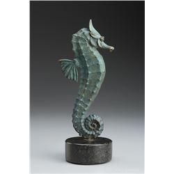 """Michael Parkes """"Seahorse"""" Bronze Sculptures"""
