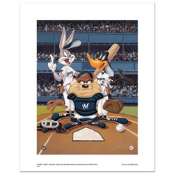 """""""At the Plate (Brewers)"""" Numbered Limited Edition Giclee from Warner Bros. with Certificate of Authe"""