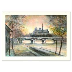 """Antonio Rivera, """"Notre Dame"""" Limited Edition Lithograph, Numbered and Hand Signed."""