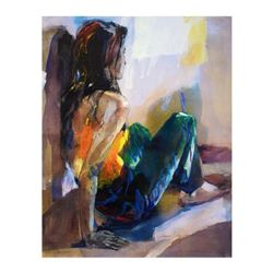 """Christine Comyn, """"Woman in Blue and Green"""" Limited Edition on Canvas, Numbered and Hand Signed with"""