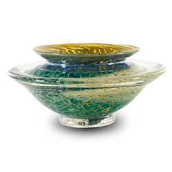 """Medium Ikebana Flower Bowl"" Hand Blown Glass Sculpture, Hand Signed byGartnerBlade Glass."