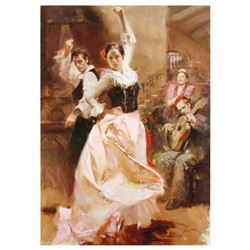 "Pino (1939-2010) - ""Dancing in Barcelona"" Artist Embellished Limited Edition on Canvas (48"" x 34""),"