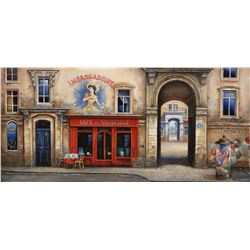 "Alexander Borewko- Original Giclee on Canvas ""Cafe Du Vaudeville"""