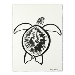 "Wyland, ""Turtle"" Original Sumi Ink Painting, Hand Signed with Certificate of Authenticity."