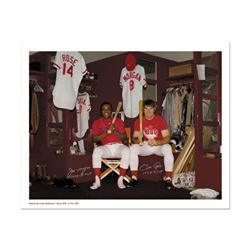 """""""Pete Rose & Morgan in Clubhouse"""" Archival Photograph Autographed by Pete Rose and Joe Morgan. Inclu"""