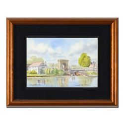 """Martin Goode (1932-2002), """"Compleat Angler, Marlow"""" Framed Original Watercolor Painting, Hand Signed"""