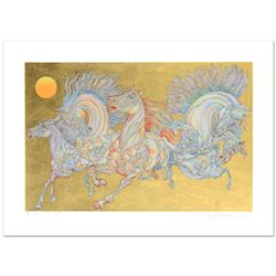 """Guillaume Azoulay, """"Lever De Soleil"""" Limited Edition Serigraph with Hand Laid Gold Leaf, Numbered an"""