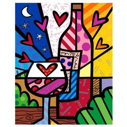 """Romero Britto """"Rose All Day"""" Hand Signed Limited Edition Giclee on Canvas; Authenticated"""