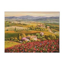 "S. Sam Park - ""Tuscany Red Poppies"" Hand Embellished Limited Edition on Canvas, Numbered and Hand Si"