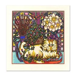 "Mara Abboud, ""Stained Glass Cat"" Limited Edition Lithograph, Numbered and Hand Signed with Letter of"