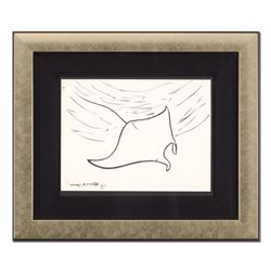 "Wyland - ""Manta Ray"" Framed Original Sketch, Hand Signed with Certificate of Authenticity."