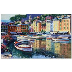 "Howard Behrens (1933-2014), ""Portofino Harbor"" Limited Edition Hand Embellished Giclee on Canvas wit"