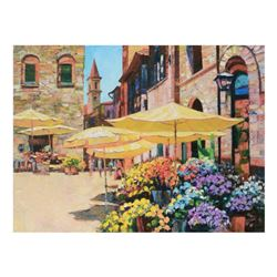 "Howard Behrens (1933-2014), ""Siena Flower Market"" Limited Edition on Canvas, Numbered and Signed wit"