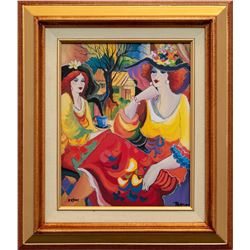 "Patricia Govezensky- Original Giclee on Canvas ""Friends at Brunch"""