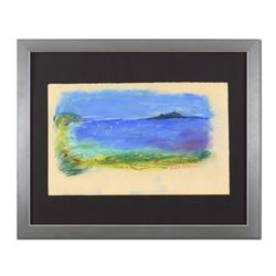 """Judith Bledsoe (1928-2013), """"The Little Island"""" Framed Original Pastel Painting, Hand Signed with Le"""
