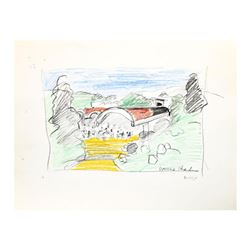 "Wayne Ensrud ""Domaine Chandon, Napa Valley"" Pencil Original Artwork; Hand Signed; COA"