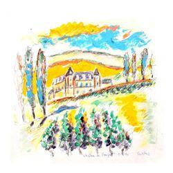 """Wayne Ensrud """"Chateau Clos de Vougeot, Burgundy"""" Mixed Media Original Artwork; Hand Signed; COA"""