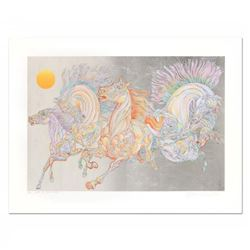 "Guillaume Azoulay - ""Lever De Soleil"" Limited Edition Serigraph with Hand Laid Silver Leaf, Numbered"