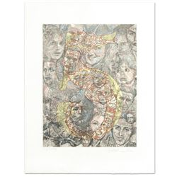"Guillaume Azoulay - ""Five"" Limited Edition Hand Colored Etching, Numbered and Hand Signed with Lette"