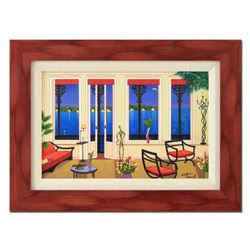 "Fanch Ledan - ""Balcony Over Bahia"" Framed Limited Edition Serigraph on Canvas, Numbered Inverso and"
