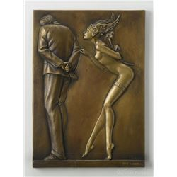 "Michael Parkes ""Gift for the Disillusioned Man"" Bas-relief Gold"