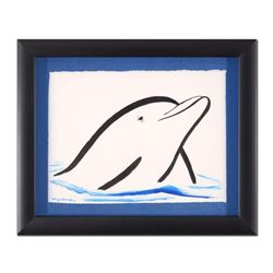 "Wyland - ""Dolphin"" Framed Original Watercolor Painting, Hand Signed with Certificate of Authenticity"