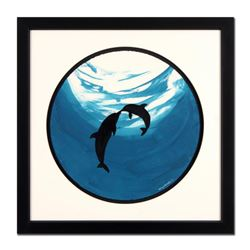 """Wyland - """"Two Dolphins"""" Framed Original Watercolor Painting, Hand Signed with Certificate of Authent"""