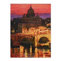 """Howard Behrens (1933-2014) - """"Sunset on St Peters"""" Hand Embellished Limited Edition on Textured Boar"""